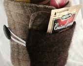 cup cozy, coffee cup sleeve cosy, fabric, quilted, wool pocket cozy