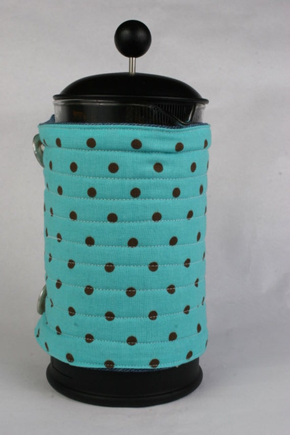 French Press coffee pot cozy, French coffee press cozy, coffee press cover, Coffee press warmer, Aqua and brown polka dots