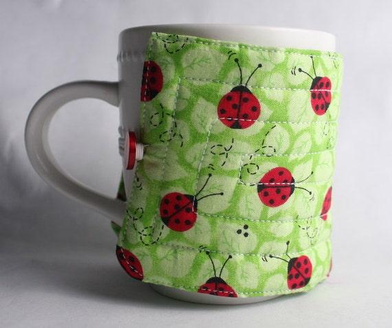 coffee cup cozy red ladybugs fabric java jacket, mug cozy reuseable eco friendly, green: ladybugs