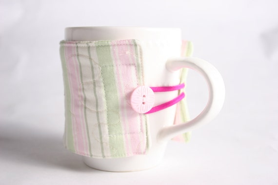 coffee cup cozy  fabric java jacket, mug cozy reuseable eco friendly, pink and green stripe