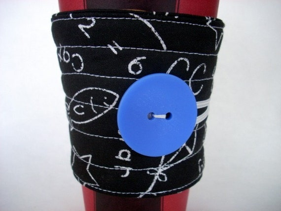 Chalkboard coffee cup sleeve, coffee cup cozy reuseable  eco friendly black and white