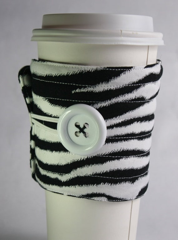 Zebra print Coffee cup sleeve / coffee cup cozy coffee cup cozy reuseable eco friendly