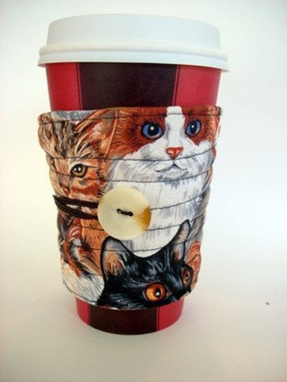 cup sleeve, coffee cup cozy, reusable, fabric, cup cosy kittens, cats