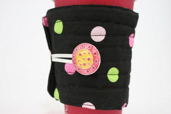 Cup cozy, black with green and pink dots