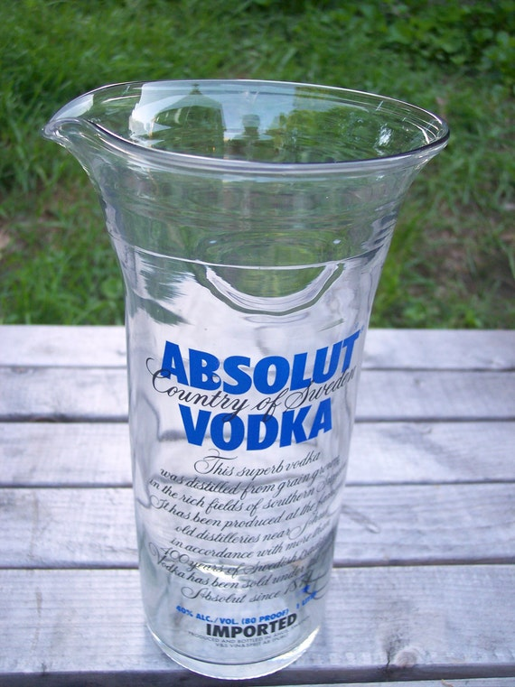 Upcycled/Recycled  Bottle Eco-Friendly Absolut Vodka Glass Pitcher