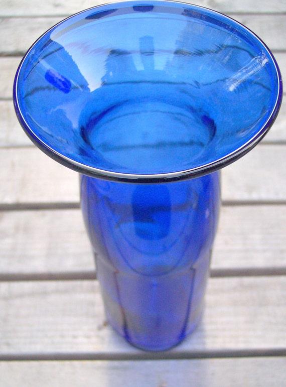 Upcycled/Repurposed Cobalt Skyy Vodka Liquor Bottle VASE