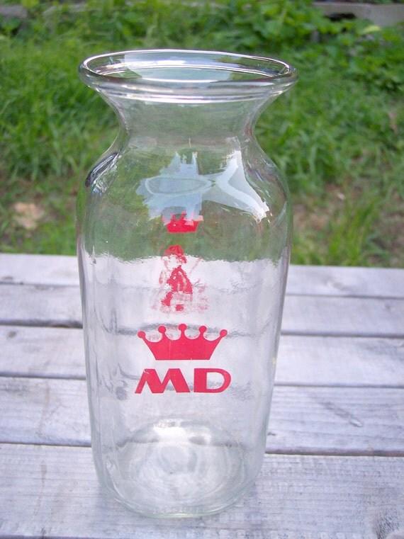 Vintage Upcycled/Repurposed Monroe Dairy Milk Jug  Bottle VASE-Rhode Island