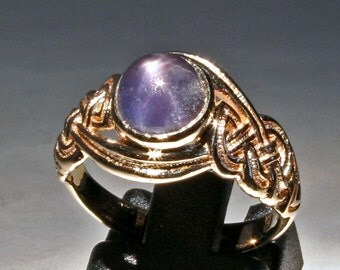 Natural Star Sapphire in Celtic Knot 14k Gold Setting Size 6.5