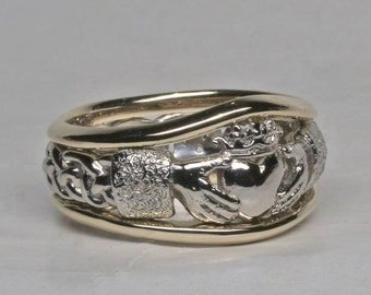 Claddagh Ring with Celtic Knot Work Band and Borders in 14k White Palladium and Yellow 14k size 9.25