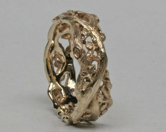 "Woodland Vine ring in 14k Gold size 6.5, 1/4"" or 6mm wide."