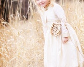 Ivory Silk Faille and Gold Pergament Taffeta Flowergirl Dress with bolero, vintage by Sashcouture - SashCouture1