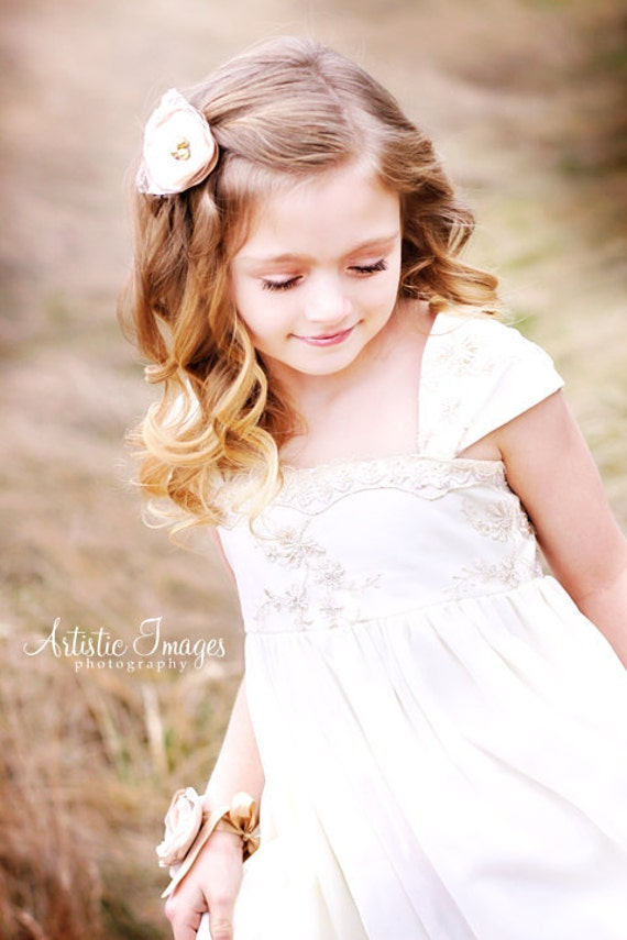vintage style flower girl dress with french lace by