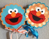 Turquoise Elmo Single Sided Table Decorations- Set of 2