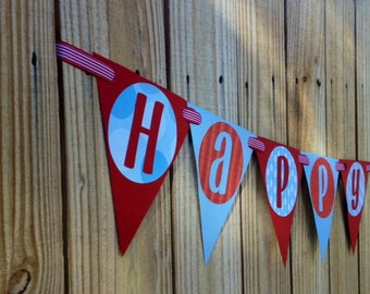Vintage-like Pendant Happy Birthday Banner-Superman  Ready To Ship