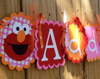 Whimzical Name banner in Girlie Elmo