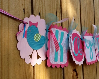 Whimzical Name banner in Pink and more pink with a touch of Aqua