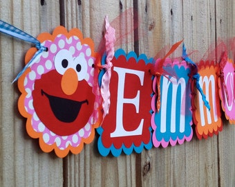 Whimzical Name Banner in Elmo with pink and turquoise