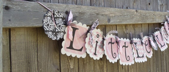 """Vintage-like """"Little Lady"""" Baby shower banner with damask"""