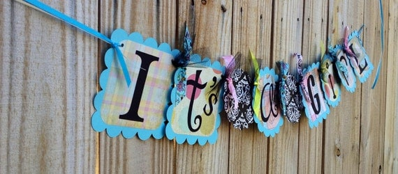 Baby Shower banner- Tiffany blue Shabby  Ready to Ship