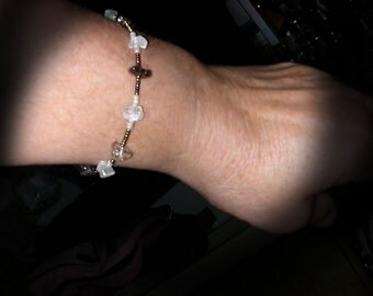 Delicate Smokey Quartz and Moonstone Chip Bracelet with Metalic Czech and Pearly Seed Beads