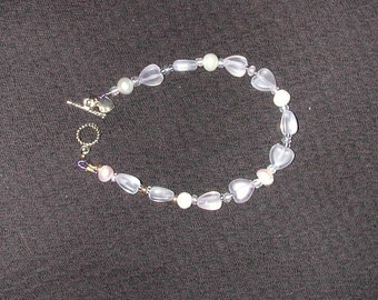 Pale Pink Fresh Water Pearl and Heart Bracelet