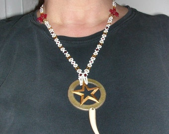 Handmade Pentacle with Claw or Tooth on Beaded Daisey Chain Necklace