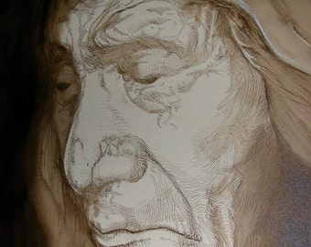 Native American Indian Portrait Makhpiya-luta Red Cloud ORIGINAL Croquille Pen and Brush Drawing in Sepia