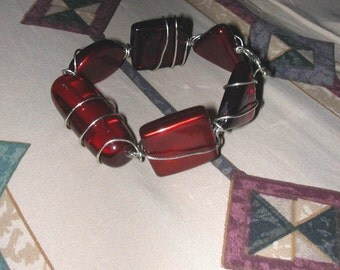 Chunky All Shapes Red Glass Silver Colored Wire Wrap Bracelet