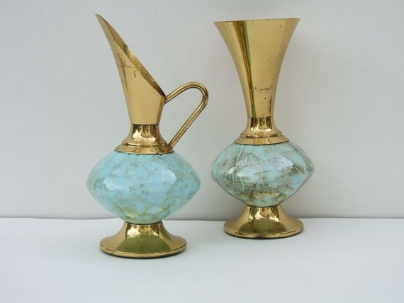 Vintage Pitcher and Vase Made in Delft Holland with Brass and Marble Finish