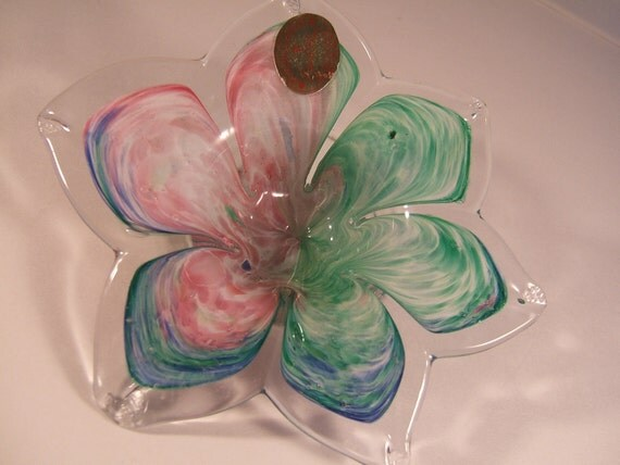 Vintage Murano Flower Bowl Made in Italy Pink Green Blue Original Label