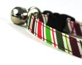 Holiday Stripe Cat Collar