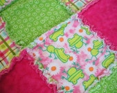 Frogs in Pink and Green Flannel Rag Edge Quilt