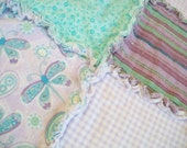 Butterflies in Purple and Teal Handmade Flannel Rag Edge Quilt