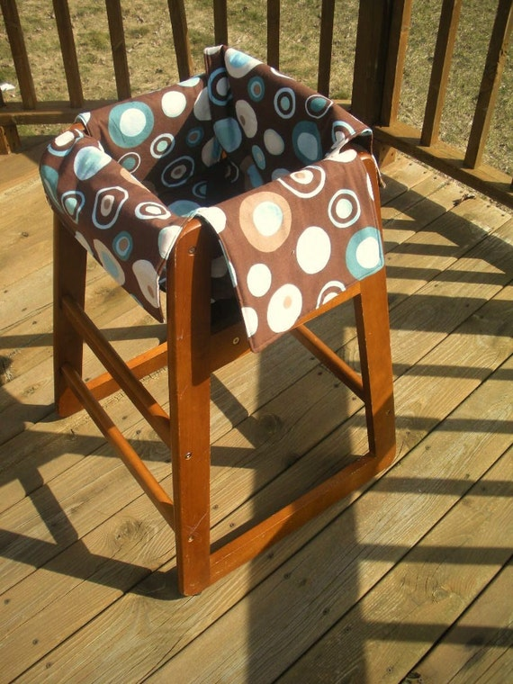 Blue and Brown Circles  Restaurant High Chair and Shopping Cart Cover