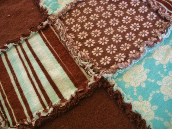 Chocolate Brown and Blue with Stripes/Flowers Flannel Rag Edge Quilt Marked Down