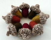 8 Magic brown Acorns - crocheted and felted