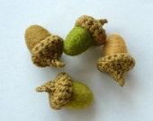 8 olive wool Acorns croched and felted natural decor Woodland autumn fall Weddings favor handmade rustic garland