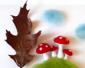 Felted crochet Mushrooms Alice in Wonderland nursery decorations toadstools on the hill forest woodland autumn fall Birthday party Weddings