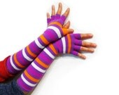 Striped Fingerless Gloves Goth,  Steampunk, Bohemian, Tribal, Purple,Orange, White, Half Finger, Long