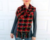 Handwoven  Red and Black Fringed Scarf