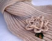 Hand-knit BeigeScarf with Crochet Flower Applique