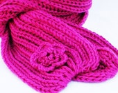 Knit Chunky Scarf Crochet flower Cowl Scarf for women Infinity Scarf Roseberry