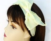 Bow Headband Chiffon Wedding Yellow Inspired Bridal