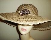 Sun Hat Raffia Natural Straw with Silk Flower