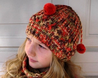 Slauchy Hat Pom Pom and Scarf Set Multicolor Toddler Girl Women Hat