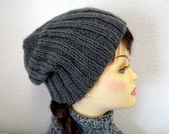 Hand Knit Hat Grey Ribbed Kint Beanie Winter Hat
