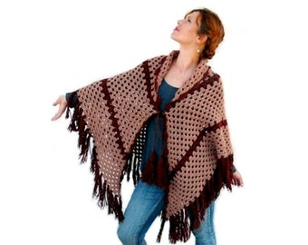 Hand Crochet Triangle Shawl Fringe Brown Light Brown Capelet
