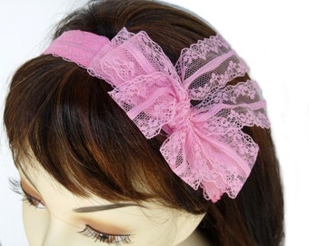 Pink Sash Lace Bow Headband Wedding Headband Wedding Hair Accessory