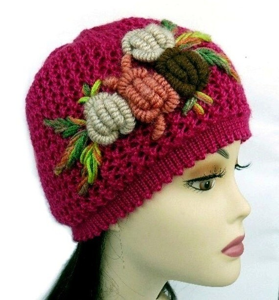 Knit Hat and Scarf Set with Crochet Flower Christmas Gift