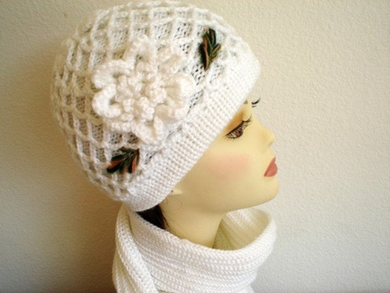 Hand Knit White Hat Scarf Set with Crochet Flower Winter Warm